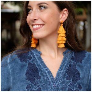 Jewelry - Mustard Threaded Tiered Earrings